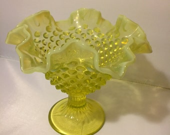 Topaz Hobnail Fenton Compote, Topaz Opalescent Fenton Hobnail Footed Compote, 1950s Yellow Fenton Yellow Hobnail Compote Footed Candy Dish
