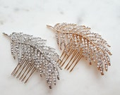 Bridal Hair Comb, Wedding Headpiece, Rhinestone Leaf Hair Comb, Crystal Leaf Comb