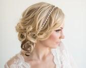 Wedding Crystal Headband,  Rose Gold Bridal Headpiece, Gold Bridal Hair Accessory
