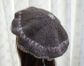 PRETTY soft brown beige cream knit beret by irish granny in pure soft new wool