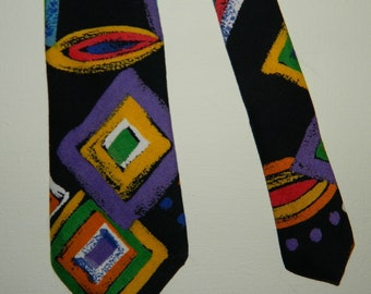 """53"""" by 2.75"""" 80s Ricky B Colorful Abstract Tie Wild and Crazy 100% Rayon Necktie"""