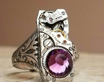 STEAMPUNK RING with Crystal Adjustable Ring Steam Punk Floral Band Steam Punk Ring Narow Watch Work Steampunk Ring