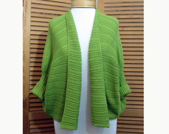 Vintage Spring Green Knitted Circle Sweater Shrug One Size