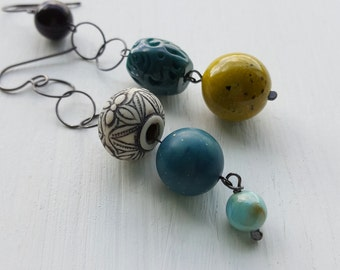 quarry earrings - asymmetrical earrings, vintage Lucite and sterling silver