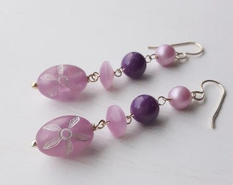 waterlily - earrings - vintage lucite and sterling