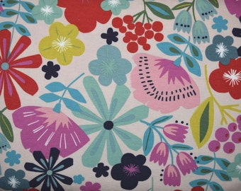 Pretty Poppies in Cream 54 inch wide Cotton Knit Fabric from Alexander Henry sold in 1/2 yard increments