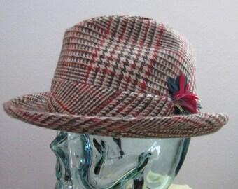 Smashing 1960s NOS 60s Vintage Brown Wool Plaid Fedora 7 1/8