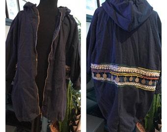 Navy blue cotton jacket with craftsmanship