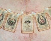Vintage Rabbit and Chick Spring Banner, Easter Bunny and Chick Nest Vintage Style Garland