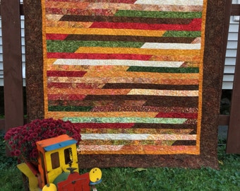 Fall Lap Quilt, Autumn Lap Quilt, Brown Orange Quilted Throw, Fall Quilted Comforter, Batik Fall Quilt, Handmade Lap Quilt