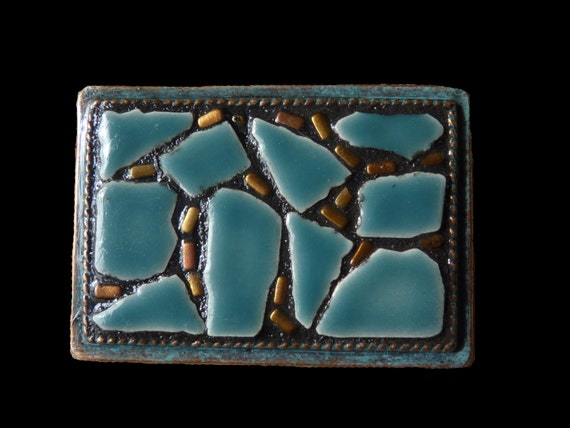 Unisex Abstract Mosaic Belt Buckle with Patina Finish