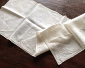 Vintage Creamy White Linen Runner, Fancy Cutwork  & Embroidery, Excellent Condition