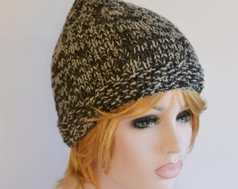 Pixie Hat Knitted Hat Elf Chunky,  Valentines Day, Ready to Ship Winter Hat Charcoal and Grey