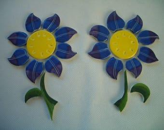 PET - BLUE, Purple FLOWERS, Leaves  - Ceramic Mosaic Tiles