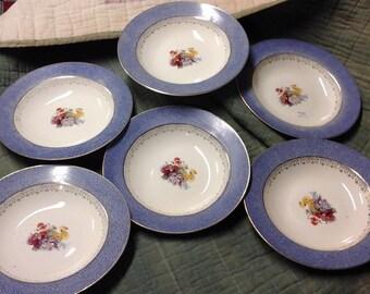 Vintage Steubenville Blue & Gold Set of 6 Dessert Plates