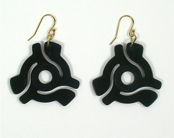 Black 45 rpm Vinyl Record Adapter / Adaptor Earrings Symbol for Music Enthusiast