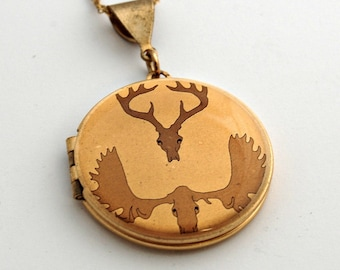 Vintage Locket Antlers Deer Skull Necklace Jewelry Necklaces Lockets Gold Antler Brass Gold Custom Jewelry Photograph Gift Quote Jewellery
