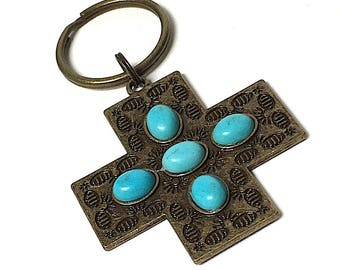 Pewter Patina Turquoise Cross Keychain with lava bead for essential oils, key ring, finished back