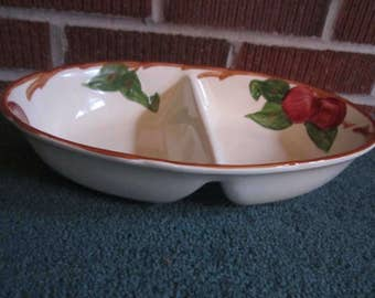 Vintage 1960s Franciscan Pottery APPLE Divided Serving Bowl PERFECT
