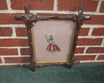 Antique Arts and Crafts Era Carved Wood Wall Hanging Frame for 8x10 Picture No.1