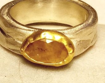 Free form rose cut Sapphire, amber yellowish color, exceptional elegant and distinctive one of a kind statement ring set in 22k solid gold.