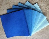 """Hand Dyed Wool Felt Gradation, FRENCH BLUE, Value Gradient in Sweet Sapphire and Sky Blues, 6 pcs. 6.5"""" x 16"""" Each"""
