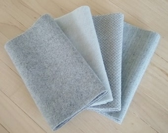 "Hand Dyed Wool Felt, GLACIER, Four 6.5"" x 16"" pieces in Pale Blue-Gray, Perfect for Rug Hooking, Applique' and Crafting"
