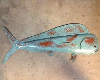 Mahi Mahi 36in Metal Fish Wall sculpture Tropical Beach Coastal