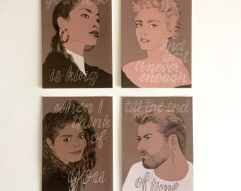 80s Music Legend Postcards - Set of 4 // song lyric postcards, music fan gift, art card set, Madonna, Sade, George Michael, Janet Jackson