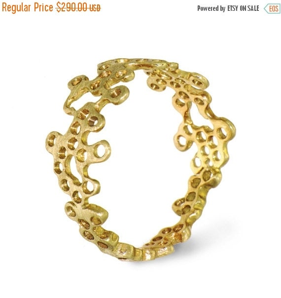 HOLIDAYS SALE - LACE Unique Gold Ring, 14K yellow Gold Ring, Designer Gold Ring,  Custom Italian Fine Jewelry