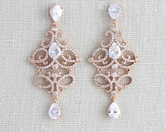 Rose Gold Bridal earrings, Wedding jewelry, Chandelier earrings, Crystal Wedding earrings, Swarovski earrings, Vintage style earrings