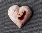 Mexican Fire Opal Stone Cabochon - Heart Shaped