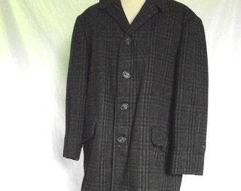 Sale 70s Mens Jacket McGregor Car Coat Vintage Gray Plaid  Winter Jacket Sz 40