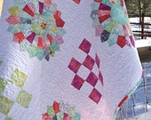 Quilt Baby Toddler Crib Nursery Bedding Canyon Kate Spain Dresden Plate Applique Lap Modern Throw Coral Aqua Magenta piecesofpine