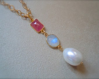 Idlewild -- Rainbow Moonstone, Ruby, and Baroque Pearl Pendant Necklace