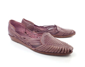 Purple Woven Sandals Vintage 1980s Brass Plum Nordstrom Leather Huaraches Women's