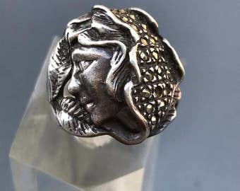 Large Vintage Art Nouveau Style Ring  .  Sterling Silver jewelry