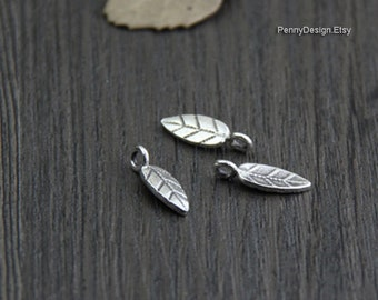 8pcs Thai Karen Hill Tribe Silver  leaf charms - Hilltribe handmade beads (KC007)