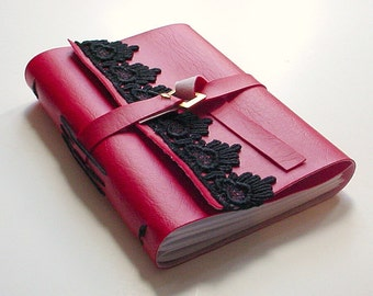 Red Faux Leather Journal - Christmas Gift- Blank Journal - Blank Notebook