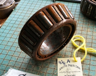 "Big Rusty Tapered Roller Bearing, industrial paperweight, doorstop, rustic, great for found art metal sculpture, 4 1/4""A"