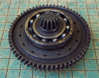 Iron Gear, helical cut, transmission cog, steampunk, industrial art, metal sculpture, gas station paperweight, man cave decor, garage