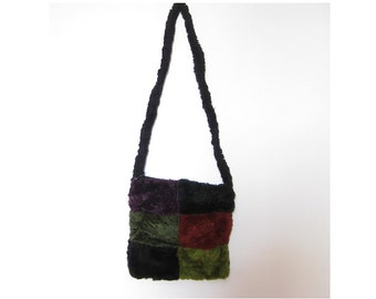Vintage 90s color block faux fur shoulder bag - furry fuzzy plush fake fur cross body purse - HIPSTER accessories - gift for friend