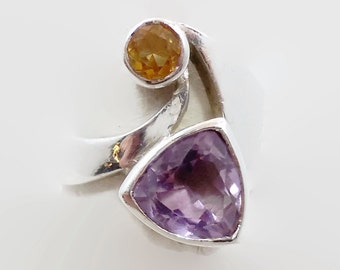 Modern Ring, Amethyst Ring, Citrine, Sterling Silver, Vintage Ring, Unique Unusual, Statement, Trillion Gemstone, Purple, Yellow, Size 7 1/2