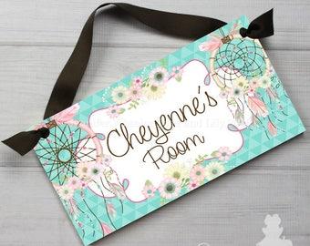 DOOR SIGN Aqua Flowers Dream Catchers Girls Bedroom and Baby Nursery Kids Bedroom Wall Art DS0463