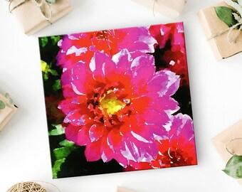 Dahlia Flower Canvas Art Print - Flower Wall Decor - Floral Art - Botanical Print - Thoughtful Anniversary Gift for Her  Canvas Wall Art 8x8