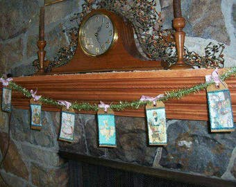 Primitive Easter Bunny Banner Garland Swag Glittered Aged Prim Hang Tags On Vintage Tinsel ofg hafair faap team