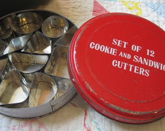 Vintage Red Tin with 12 Cookie and Sandwich Cutters