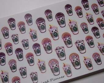 Coffee Cup Stickers for your Erin Condren Life Planner / Filofax / Happy Planner