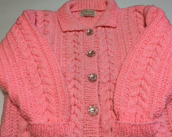 READY TO SHIP      Handmade Knit Cable Aran Jacket/Pink/Girls/Acrylic              Size 5 to 6 years