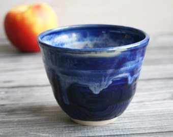 Yunomi Cup in rich Blue Glazes Handcrafted Stoneware Teacup Ceramic Pottery Ready to Ship Made in USA